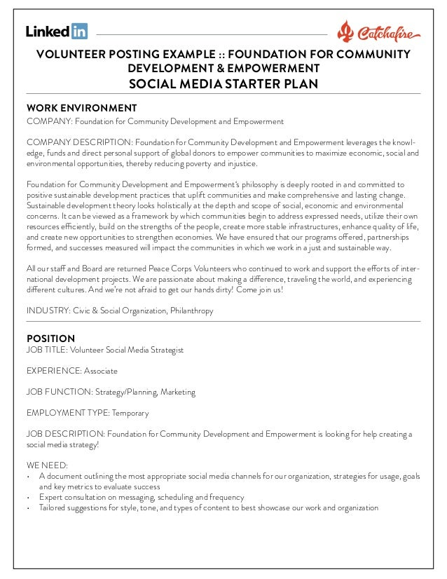 VOLUNTEER POSTING EXAMPLE :: FOUNDATION FOR COMMUNITY DEVELOPMENT & EMPOWERMENT  SOCIAL MEDIA STARTER PLAN  WORK ENVIRONME...