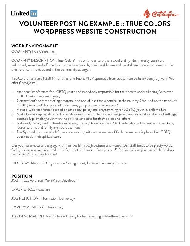 VOLUNTEER POSTING EXAMPLE :: TRUE COLORS WORDPRESS WEBSITE CONSTRUCTION WORK ENVIRONMENT  COMPANY: True Colors, Inc.  COMP...
