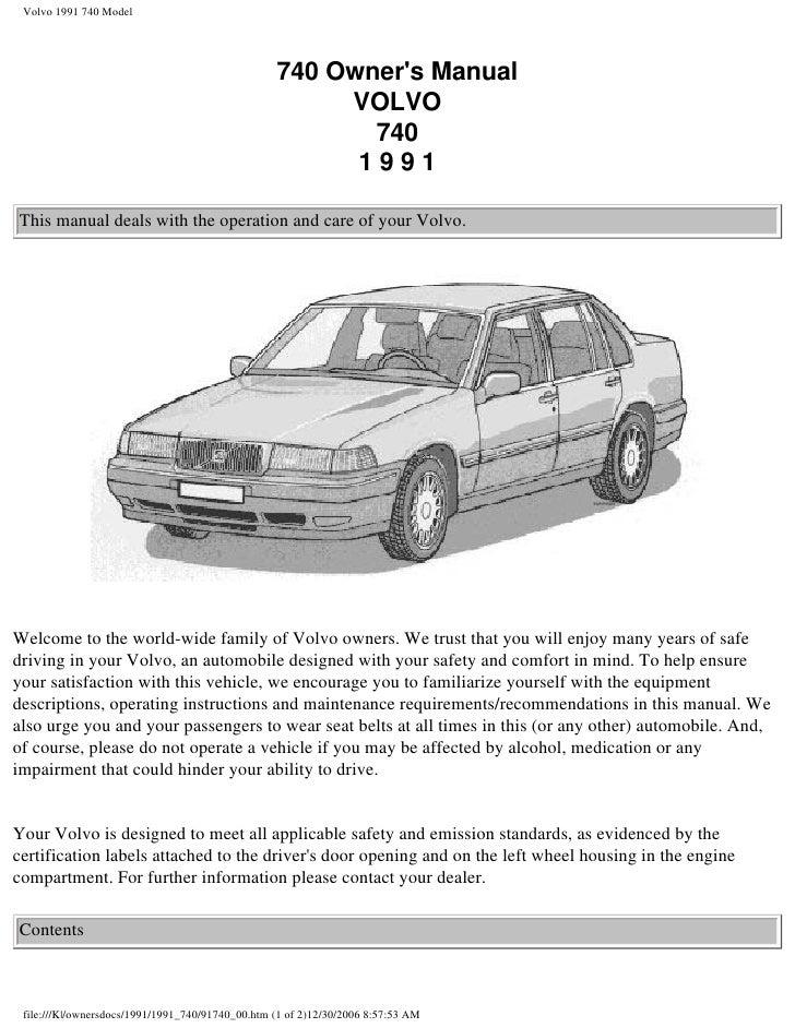 volvo 740 ownersmanual 1991 rh slideshare net 1991 Volvo 960 1991 Volvo 940