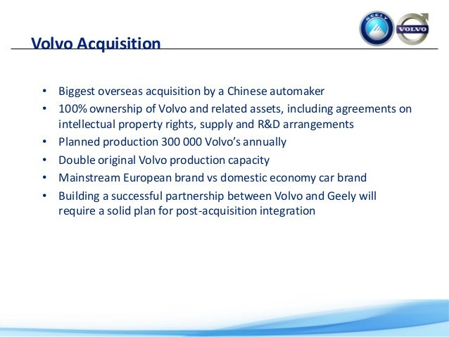 Geely s volvo acquisition case study