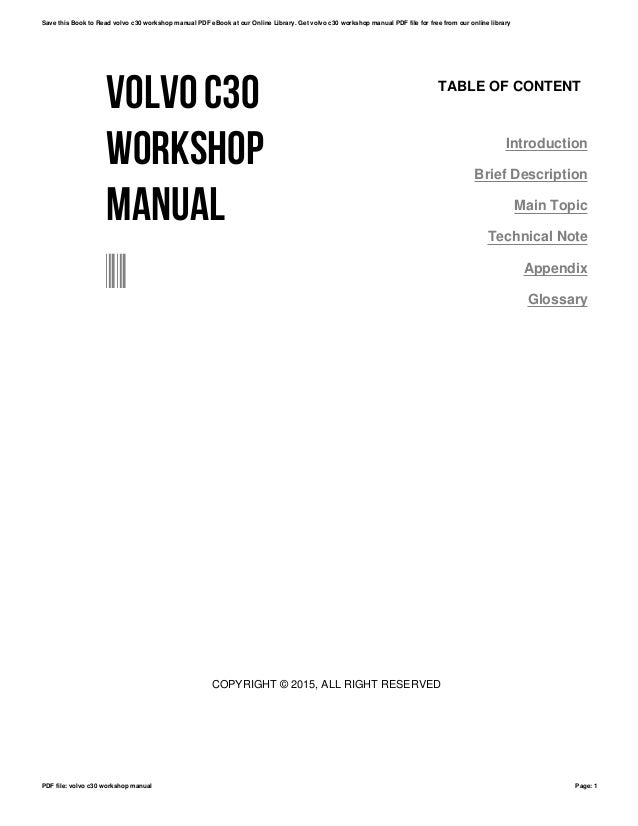 Volvo c30 workshop manual