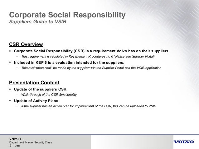 Volvo csr suppliers guide vsib