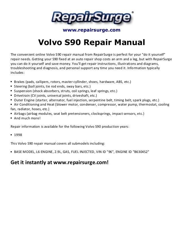 Volvo s90 repair manual 1998