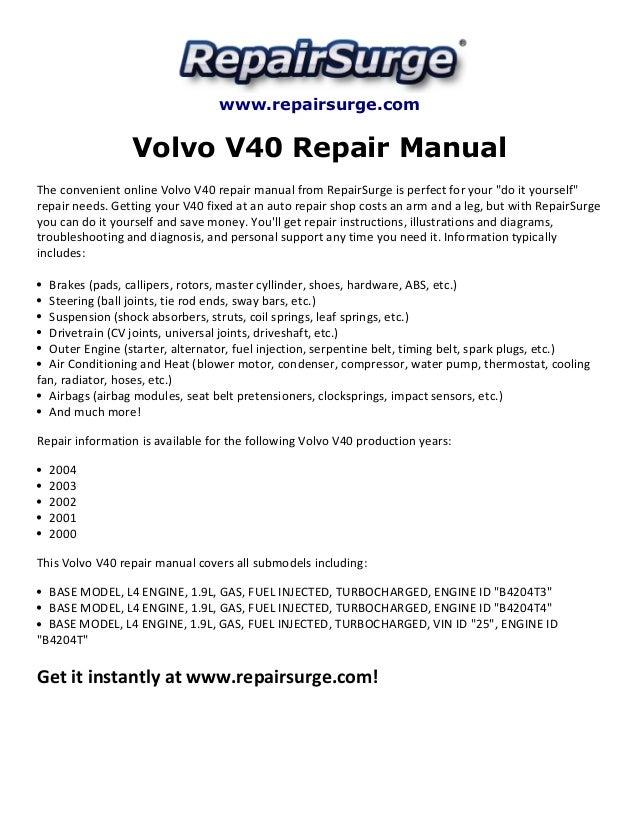 volvo v40 repair manual 2000 2004 rh slideshare net 2000 volvo s40 repair manual 2000 Volvo Station Wagon