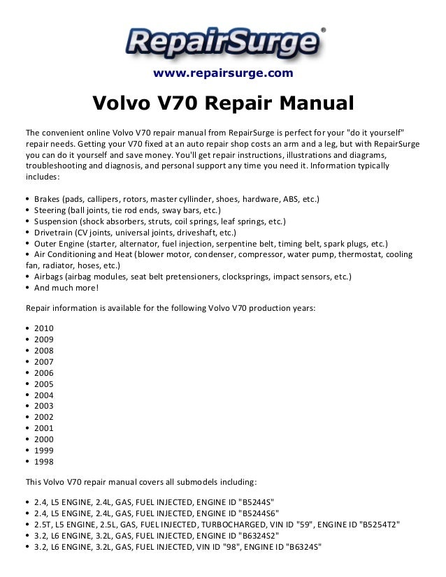 volvo v70 repair manual 1998 2010 rh slideshare net 1998 volvo xc70 owners manual 1998 volvo v70 repair manual download