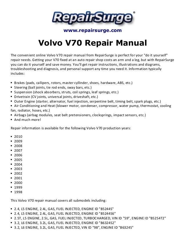 volvo v70 repair manual 1998 2010 rh slideshare net 1998 volvo v70 repair manual 1998 volvo v70 owners manual
