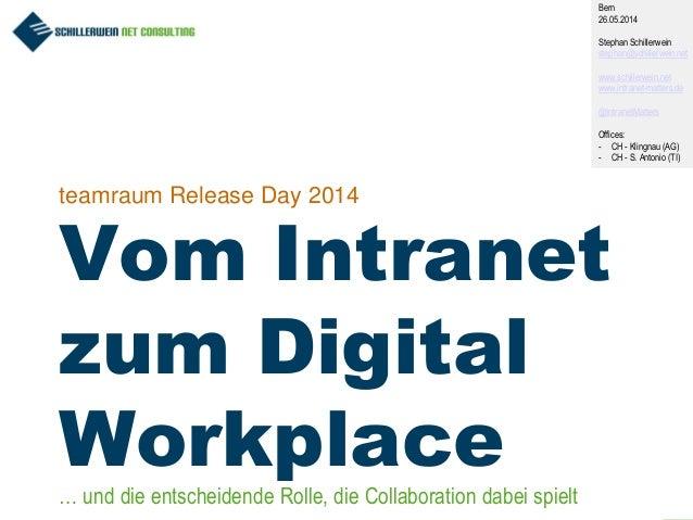 1 teamraum Release Day 2014 Vom Intranet zum Digital Workplace Bern 26.05.2014 Stephan Schillerwein stephan@schillerwein.n...