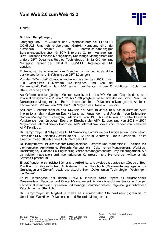 DE] Vom Web 2.0 zum Web 42.0 | Ulrich Kampffmeyer