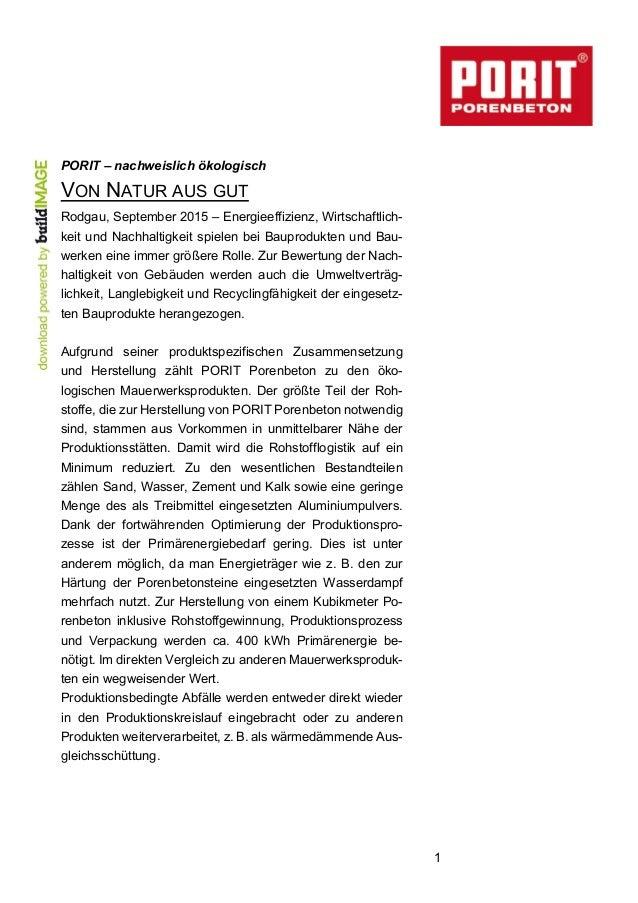 1  PORIT – nachweislich ökologisch VON NATUR AUS GUT  Rodgau, September 2015 – Energieeffizienz, Wirtschaftlich-...