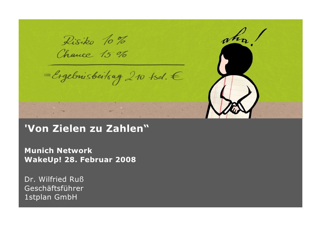 """'Von Zielen zu Zahlen""""  Munich Network WakeUp! 28. Februar 2008  Dr. Wilfried Ruß Geschäftsführer 1stplan GmbH"""