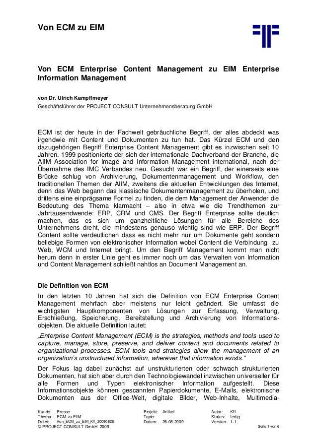 Von ECM zu EIM Kunde: Presse Projekt: Artikel Autor: Kff Thema: ECM zu EIM Topic: Status: fertig Datei: Von_ECM_zu_EIM_Kff...