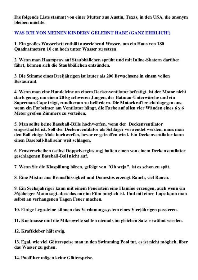 Die folgende Liste stammt von einer Mutter aus Austin, Texas, in den USA, die anonymbleiben möchte.WAS ICH VON MEINEN KIND...