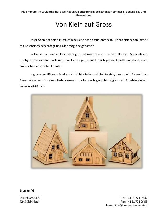 Als Zimmerei im Laufenthal bei Basel haben wir Erfahrung in Bedachungen Zimmerei, Bodenbelag und Elementbau.  Von Klein au...