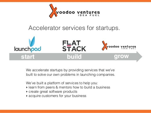 Accelerator services for startups.  start  build  grow  We accelerate startups by providing services that we've built to s...