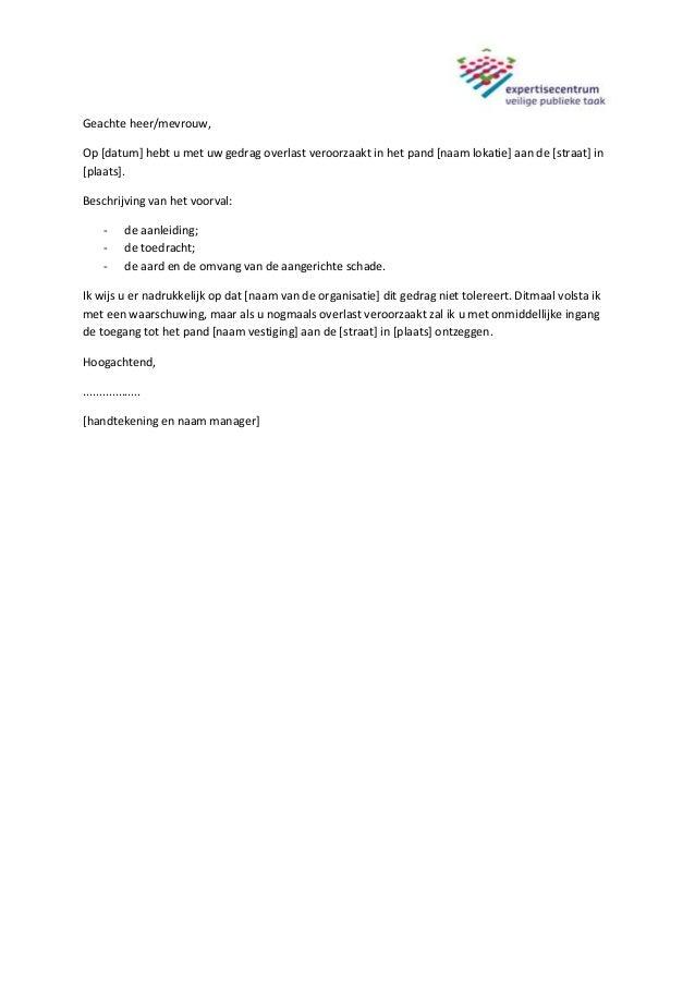 voorbeeldbrief geluidsoverlast Voorbeeldbrief schriftelijke waarschuwing voor agressieve klanten voorbeeldbrief geluidsoverlast