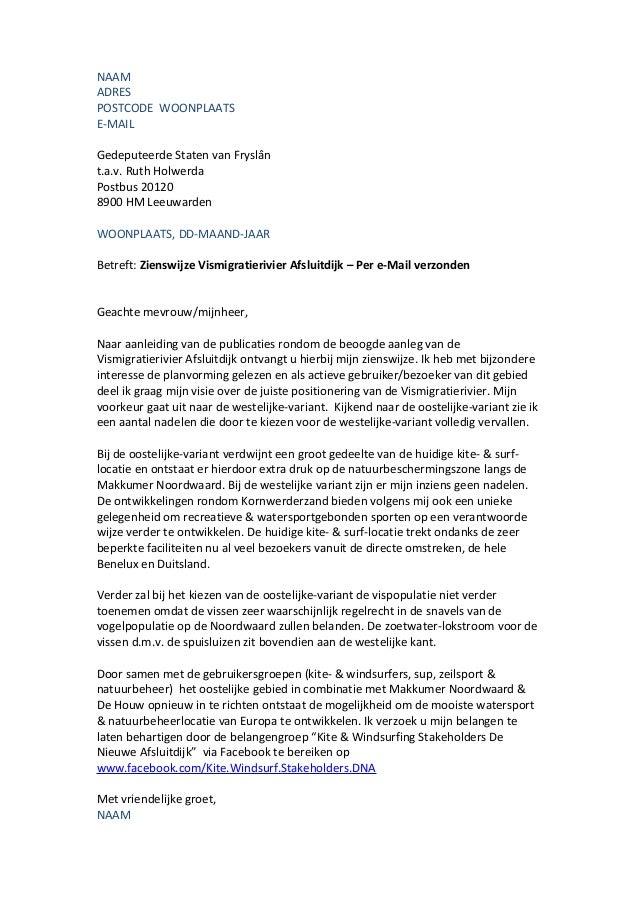 Voorbeeld brief zienswijze vismigratierivier