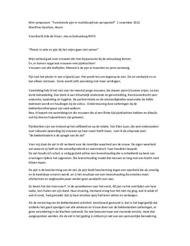 "Mini symposium ""Functionele pijn in multidisciplinair perspectief"" 1 november 2012Westfries Gasthuis, HoornVoordracht Ada ..."