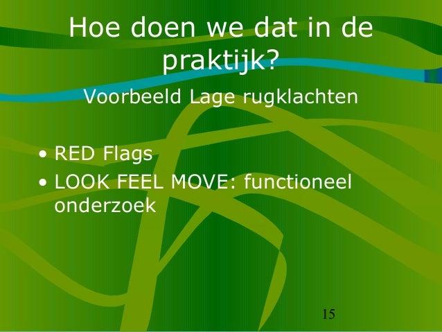 15 Hoe doen we dat in de praktijk? Voorbeeld Lage rugklachten • RED Flags • LOOK FEEL MOVE: functioneel onderzoek