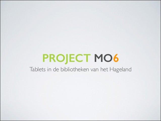 PROJECT MO6 Tablets in de bibliotheken van het Hageland