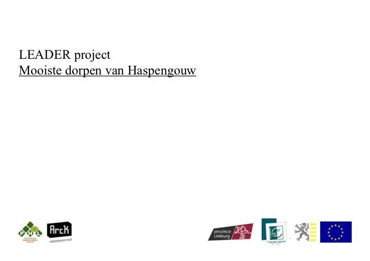 LEADER projectMooiste dorpen van Haspengouw
