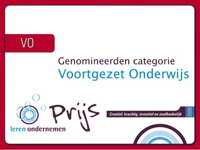 Voortgezet Onderwijs - Leren Ondernemen Prijs - Nominaties