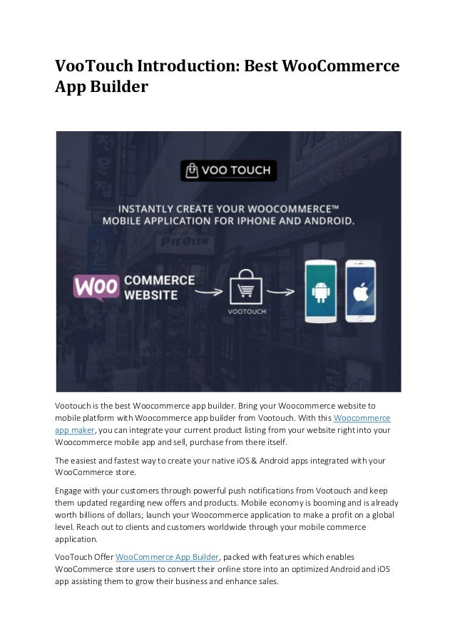 Voo touch introduction: best woocommerce app builder