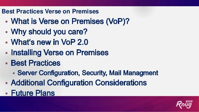 Verse on Premises 2.0 Best Practices Slide 3