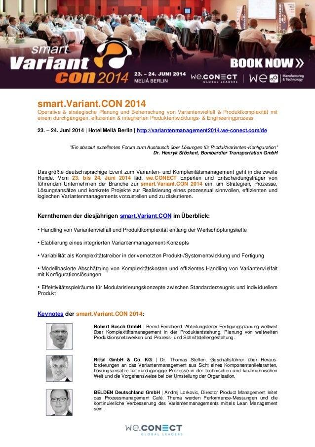 smart.Variant.CON 2014 Operative & strategische Planung und Beherrschung von Variantenvielfalt & Produktkomplexität mit ei...