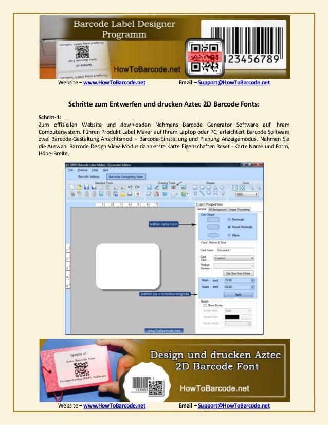 Vorgehensweise zu gestalten und auszudrucken aztec 2 d barcode font Slide 2