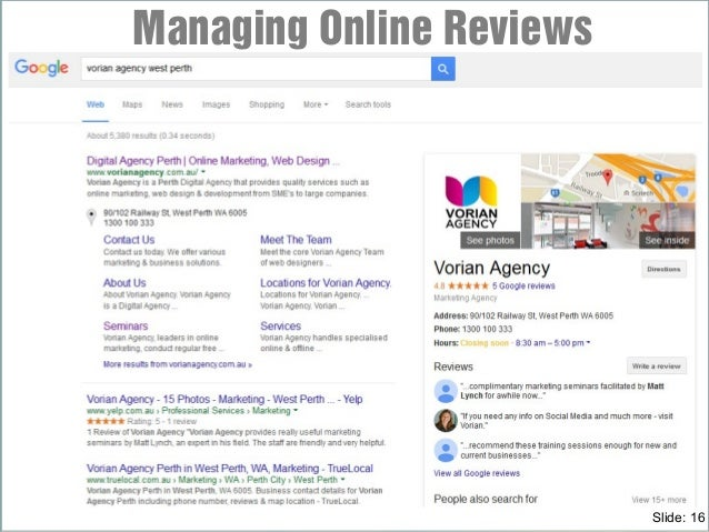 Managing Online Reviews Slide: 16