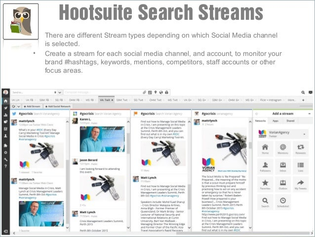 • There are different Stream types depending on which Social Media channel is selected. • Create a stream for each social ...