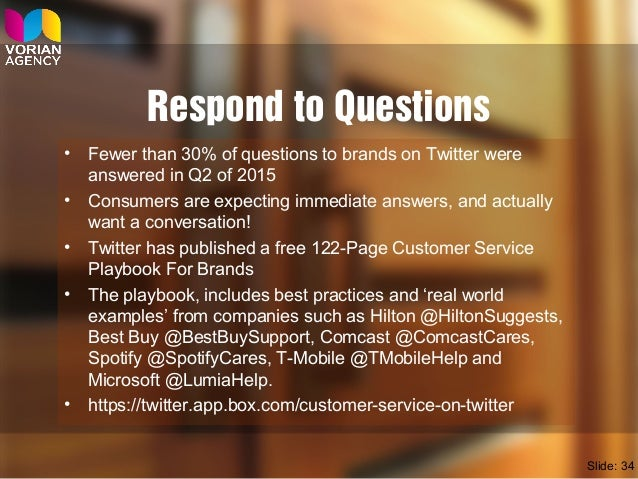 Respond to Questions • Fewer than 30% of questions to brands on Twitter were answered in Q2 of 2015 • Consumers are expect...