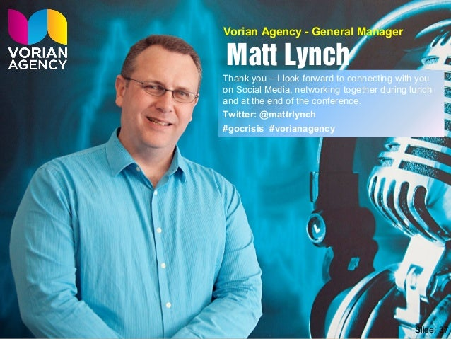 Matt Lynch Thank you – I look forward to connecting with you on Social Media, networking together during lunch and at the ...
