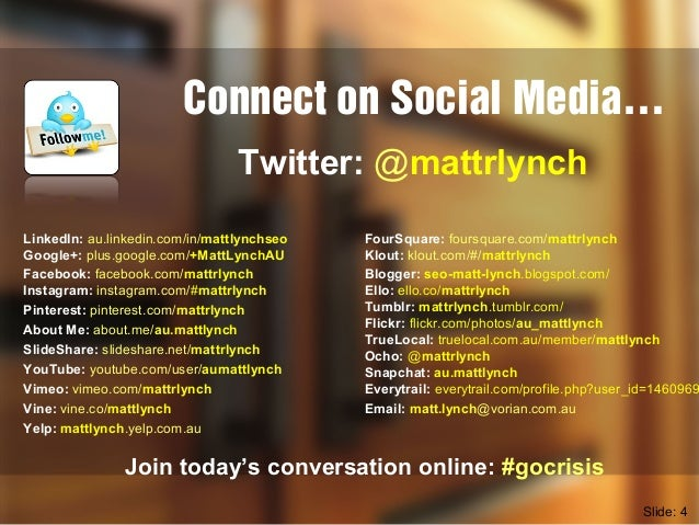 Connect on Social Media… LinkedIn: au.linkedin.com/in/mattlynchseo Google+: plus.google.com/+MattLynchAU Facebook: faceboo...