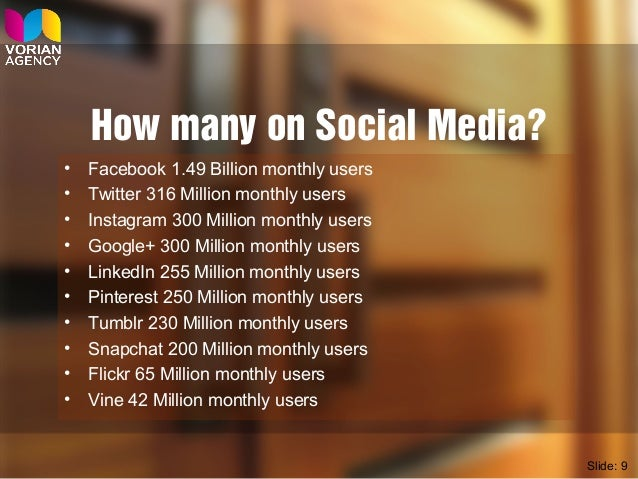 How many on Social Media? • Facebook 1.49 Billion monthly users • Twitter 316 Million monthly users • Instagram 300 Millio...