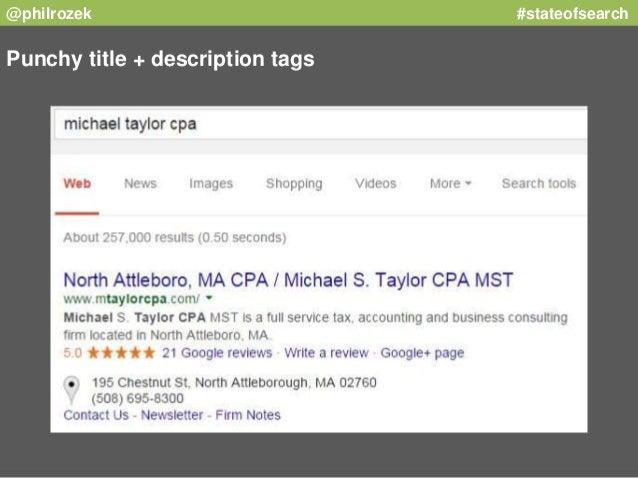 @philrozek #stateofsearch  Punchy title + description tags