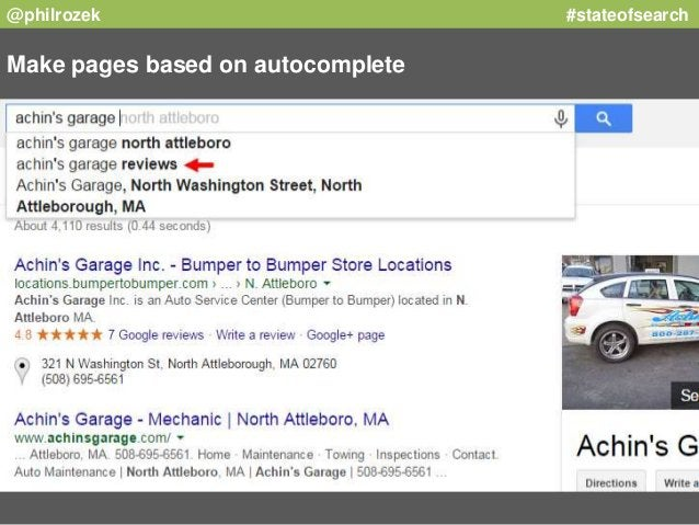 @philrozek #stateofsearch  Make pages based on autocomplete