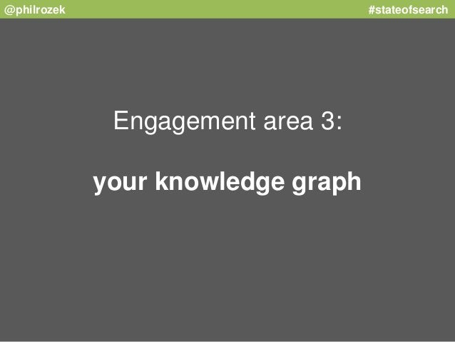@philrozek #stateofsearch  Engagement area 3:  your knowledge graph
