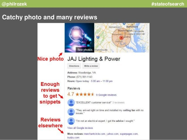 @philrozek #stateofsearch  Catchy photo and many reviews