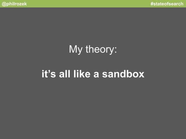 @philrozek #stateofsearch  My theory:  it's all like a sandbox