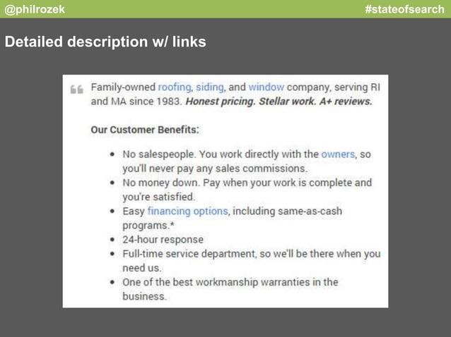 @philrozek #stateofsearch  Detailed description w/ links