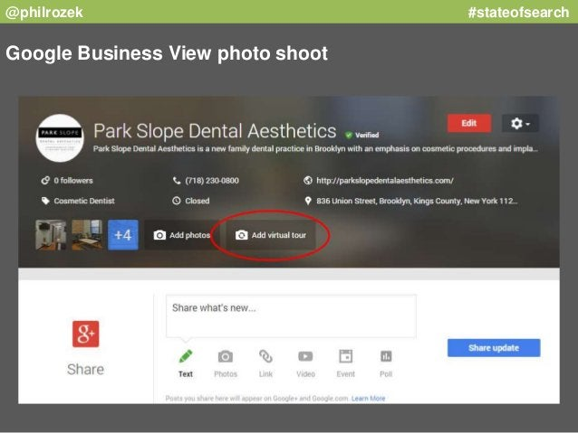 @philrozek #stateofsearch  Google Business View photo shoot
