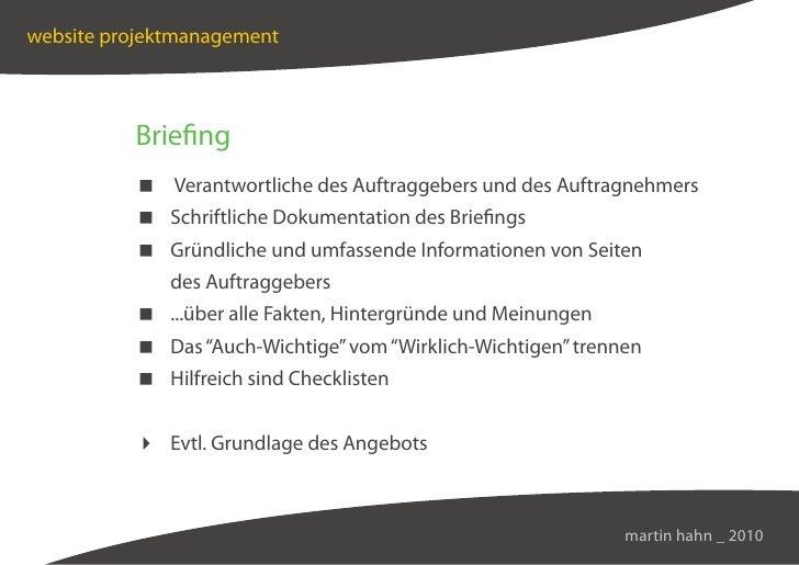 website projektmanagement              Briefing            Verantwortliche des Auftraggebers und des Auftragnehmers       ...