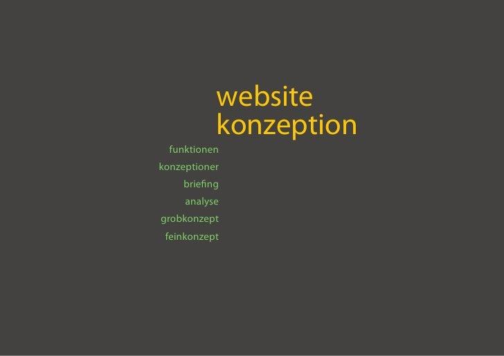 website            konzeption   funktionen konzeptioner     briefing      analyse grobkonzept  feinkonzept