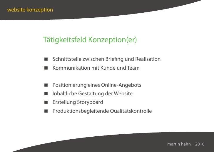 website konzeption                   Tätigkeitsfeld Konzeption(er)                 Schnittstelle zwischen Briefing und Rea...