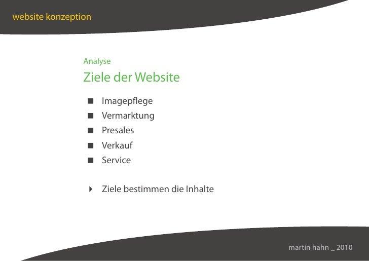website konzeption                    Analyse                  Ziele der Website                  Imagepflege             ...