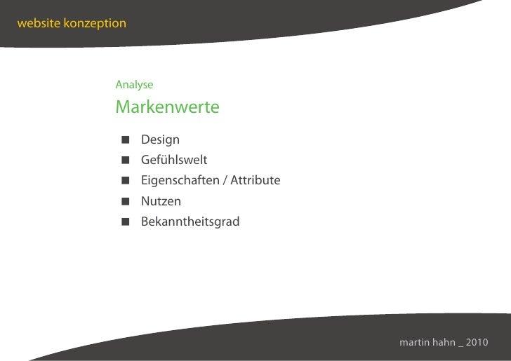 website konzeption                    Analyse                  Markenwerte                  Design                  Gefühl...