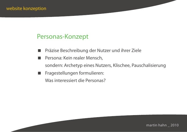 website konzeption                  Personas-Konzept               Präzise Beschreibung der Nutzer und ihrer Ziele        ...
