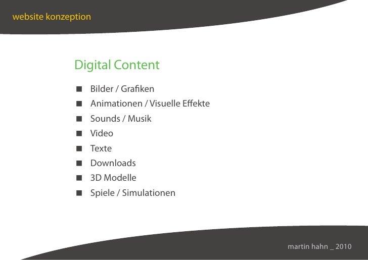 website konzeption                   Digital Content                Bilder / Grafiken                Animationen / Visuell...