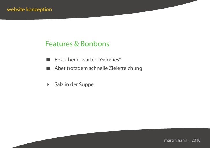"""website konzeption                    Features  Bonbons                 Besucher erwarten """"Goodies""""                 Aber t..."""